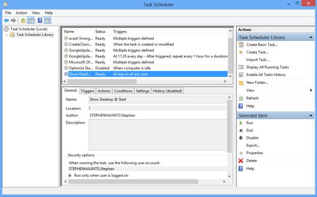 Boot Windows 8 to Desktop : Task Scheduler