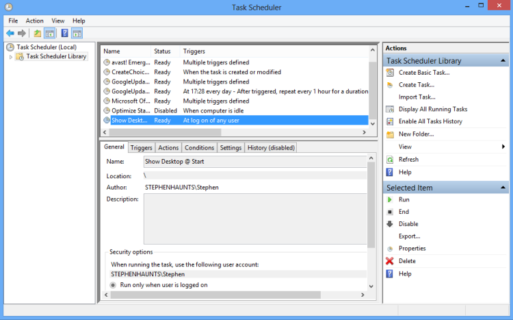 Boot Windows 8 to Desktop : Task Scheduler