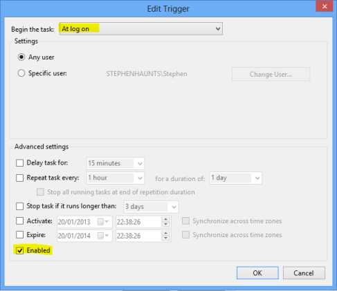 Boot Windows 8 to Desktop : Create Trigger