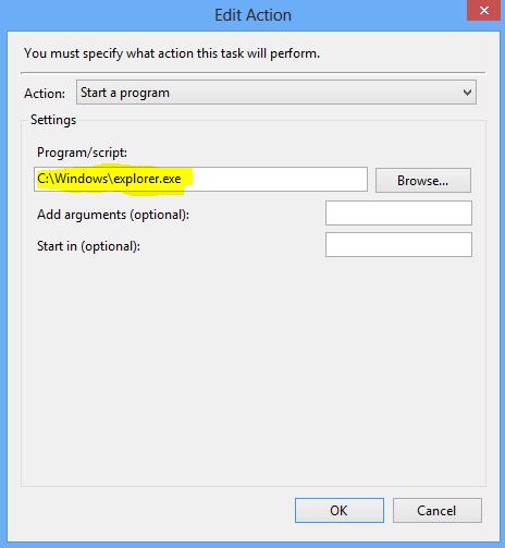 Boot Windows 8 to Desktop : Create Action
