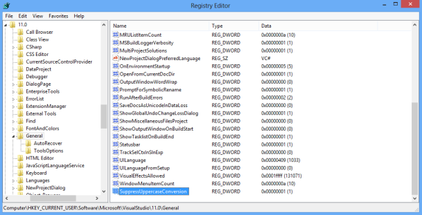 Visual Studio Registry Editor