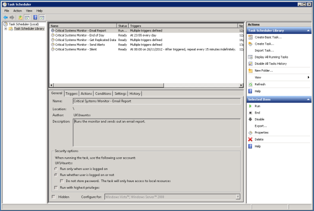 Windows Task Scheduler for Executing a System Monitor