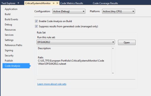 Visual Studio 2012 - Setting Up Code Analysis