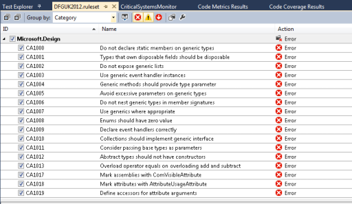 Visual Studio 2012 - Configuring Code Analysis