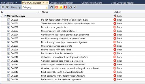 Visual Studio 2012 - Configuring Code Analysis