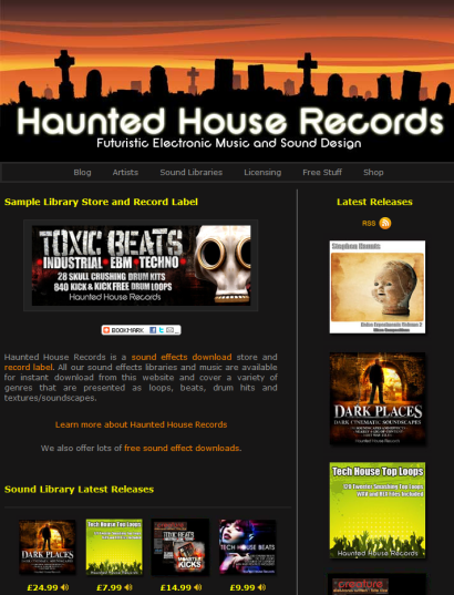 Haunted House Records : Music label / licensing house and sound sample library label
