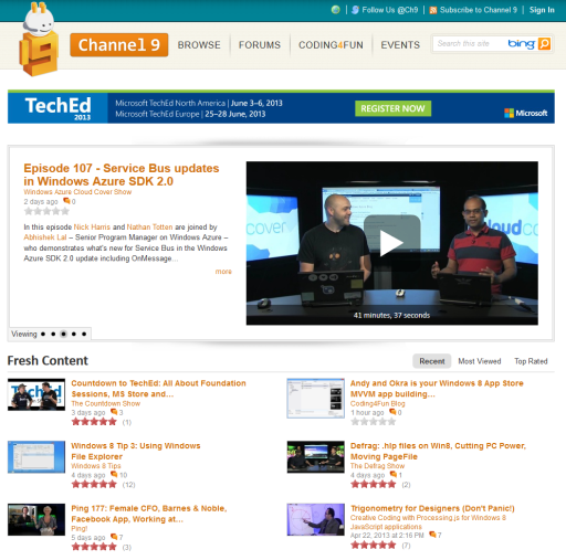 Channel9 at the Microsoft Developer Network