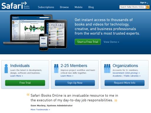 Safari Books Online : Online book library