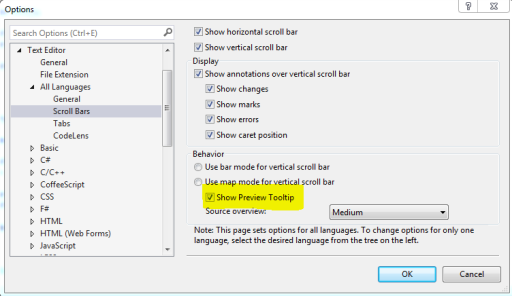 Turn on Preview Toolbar in Visual Studio 2013