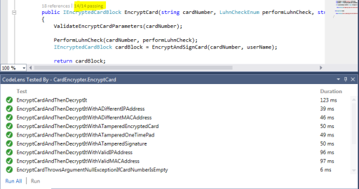 Visual Studio 2013 Unit Test Coverage Code Lens