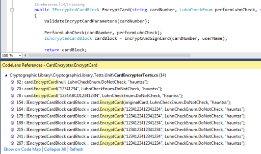 Visual Studio 2013 Code References Code Lens