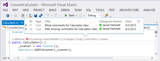Visual Studio 2013 Code Lens for TFS Integration