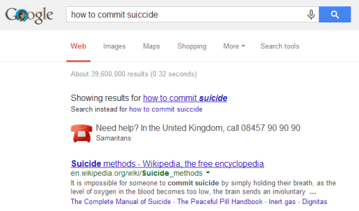 Google's automatic reference to a suicide hotline.