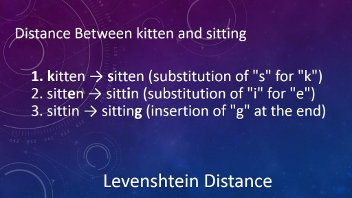 Levenshtein Distance Calculated the Number of Changes from One String to Another.