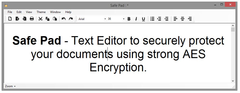 Safe Pad 1.2 : Text Editor to securely protect your documents using strong AES Encryption