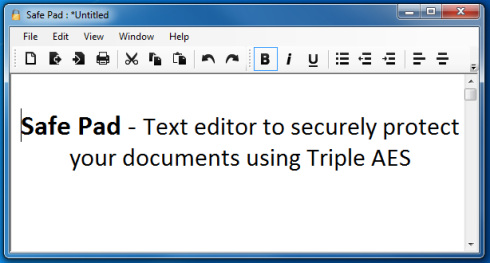 Safe Pad : Rich Text Editor with Strong Encryption for Total Security.