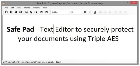 Safe Pad 1.1 : Text editor to securely protect your documents using Triple AES