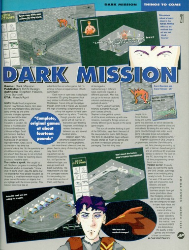 Dark Mission Interview with Stephen Haunts in Amiga Power (1994)