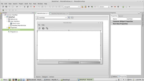 MonoDevelop Stetic GTK# UI Editor