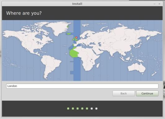 Linux Mint Installation - Select Timezone