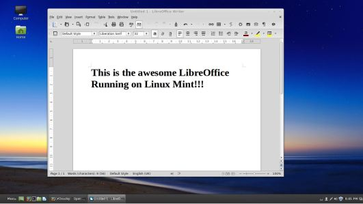 Linux Mint Libre Office Writer
