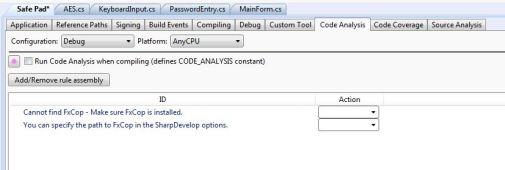 SharpDevelop Turn off Code Analysis