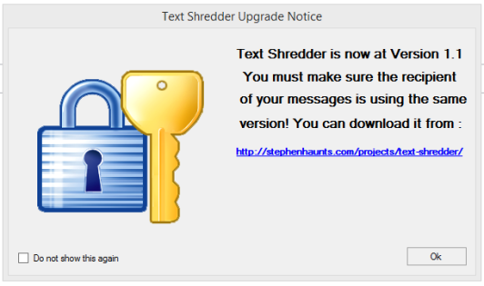 Text Shredder Upgrade Warning