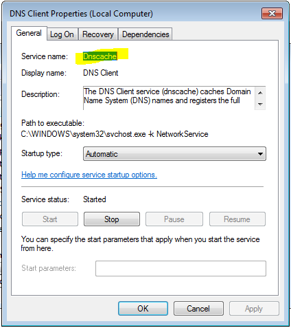 Windows Service Properties