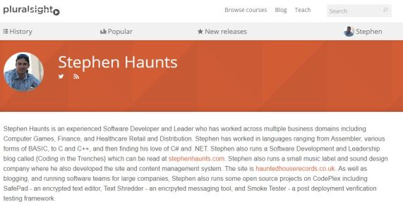 Stephen Haunts Pluralsight Author Page
