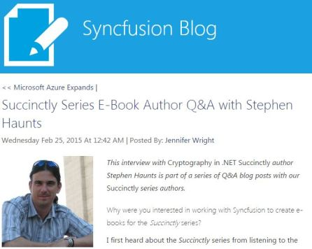 Stephen Haunts Interview on the Syncfusion Blog