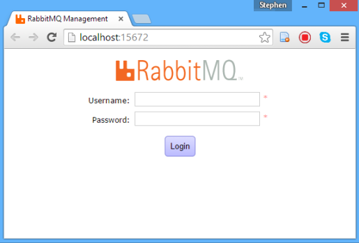 RabbitMQ Management Portal Logon Screen