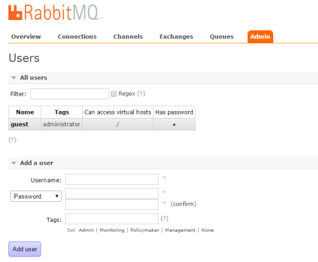 RabbitMQ Management Portal Users Tab