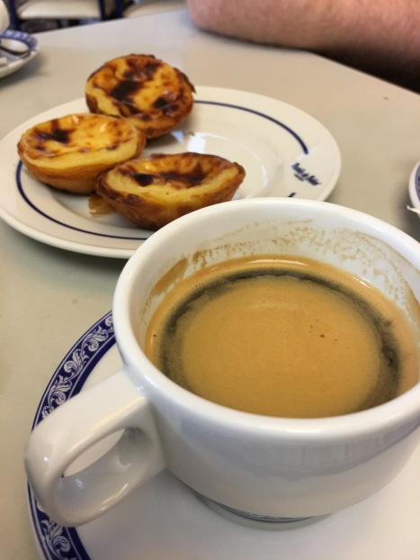 Coffee and custard tarts in Lisbon