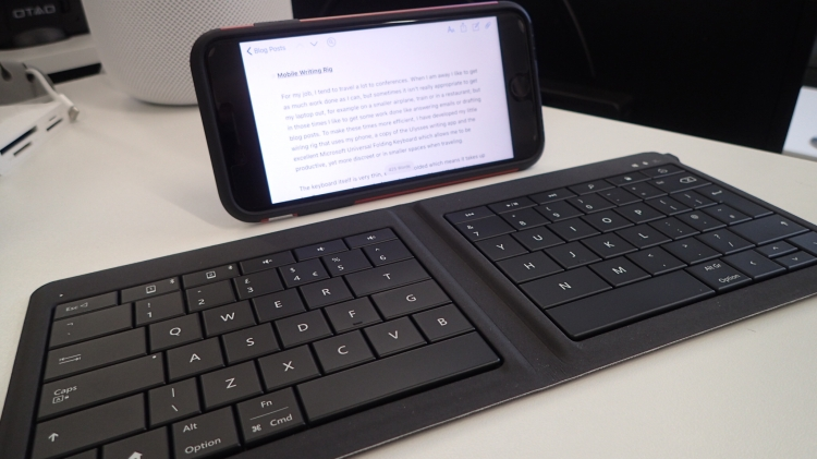 Mobile Writing Rig using the Ulysses Writing App and the Microsoft Universal Folding Keyboard.